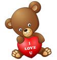 cartoon teddy bear holding red heart vector image vector image
