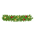 christmas garland isolated background vector image vector image