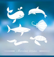 Collection icons sea inhabitants in flat