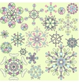 Collection of retro snowflakes vector image vector image