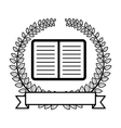 crown of leaves with open book and label icon flat vector image