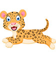 cute leopard cartoon jumping vector image vector image