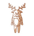 cute shadow christmas deer cartoon vector image vector image