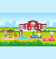 education in school kindergarten kids on lawn vector image vector image