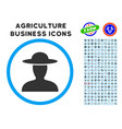 farmer person rounded icon with set vector image vector image