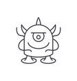 funny monster line icon concept funny monster vector image