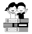 girl and boy books vector image vector image