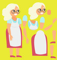 grandmother in apron broken for animation vector image