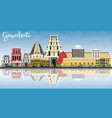guwahati india city skyline with color buildings vector image vector image