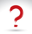 Hand drawn red question mark icon brush drawing vector image vector image