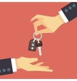Hand giving car key rent and sale flat vector image