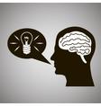 Headmind Brain Head Silhouette Generate Lamp Idea vector image vector image
