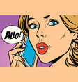 hello woman on the phone vector image vector image