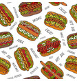 hot dog and lettering seamless endless pattern vector image