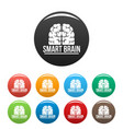 human smart brain icons set color vector image