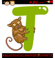 letter t for tarsier cartoon vector image vector image