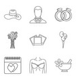 life companion icons set outline style vector image vector image