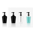 mock up realistic black cosmetic gel soap bottles vector image vector image