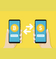money exchange dollar to bitcoin banking concept vector image vector image