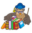 owl teacher holding books vector image