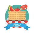 picnic food meat fruits basket vector image vector image