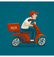 PrintPizza courier cartoon scooter driver male boy vector image vector image