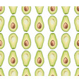 seamless pattern of avocado slice vector image