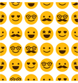 seamless pattern with cheerful and happy smileys vector image vector image
