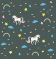 seamless unicorn pattern with clouds rainbows and vector image