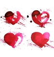 set four hand-drawn watercolour red heart vector image