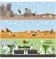set of banners with archaeological vector image vector image