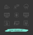 set of webdesign icons line style symbols with vector image