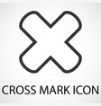 simple cross mark line art icon vector image