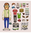 sketch male hipster set vector image vector image