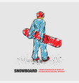 snowboarder standing with board in his hands vector image