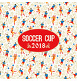 soccer cup on background with soccer players and vector image