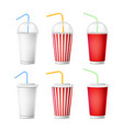 soda cup template 3d realistic paper vector image vector image