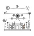 taj mahal indian mosque with flag vector image
