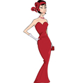 The woman in a red evening dress cartoon vector image