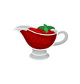 tomato sauce in glass gravy boat with green basil vector image vector image