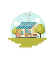 traditional house with solar panel on roof and vector image