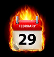twenty-ninth february in calendar burning icon on vector image vector image