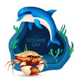 world oceans day graphic design concept the vector image