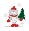 Funny santa bear with christmas tree for your vector image
