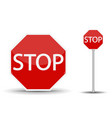 red road sign stop vector image