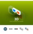 3D icon in different style vector image vector image