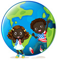 African american kids on earth vector image vector image