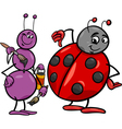 ant and ladybug cartoon vector image