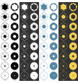 aperture range icons set vector image vector image