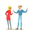 bald man and blonde woman characters arguing and vector image vector image